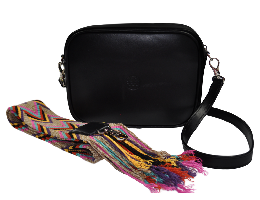 black leather messenger bag with changeable handwoven wayuu strap