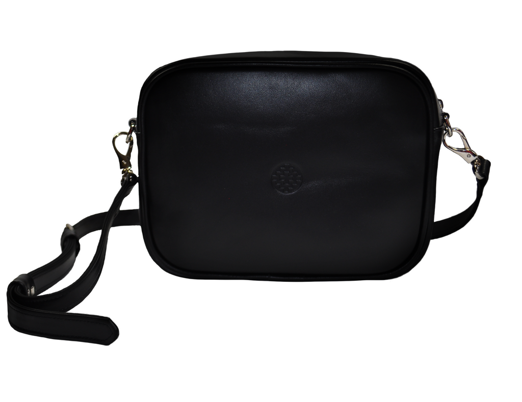 black leather messenger bag with removablestrap