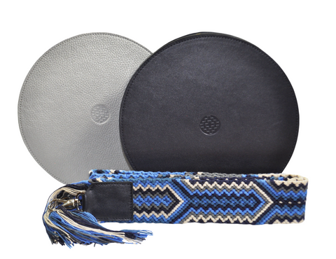 dark blue leather round bag with removable handwoven Wayuu strap