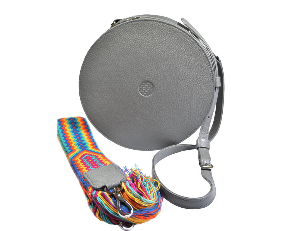 grey leather round bag with removable handwoven wayuu strap