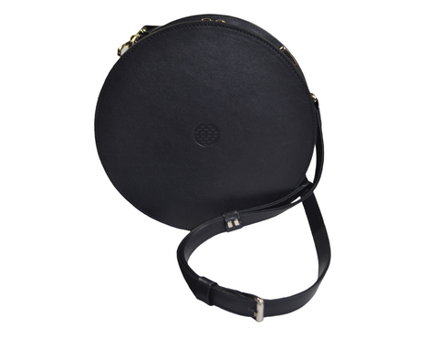 handmade dark blue leather round bag with removable strap