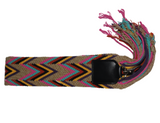 handwoven removable Wayuu strap with v-shape pattern with black leather and silver finishing