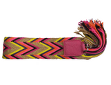 handwoven removable wayuu strap v-shape pattern with pink leather and silver finishing