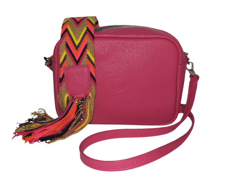 pink leather messenger bag with changeable handwoven wayuu strap
