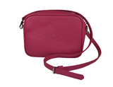 pink leather messenger bag with changeable strap