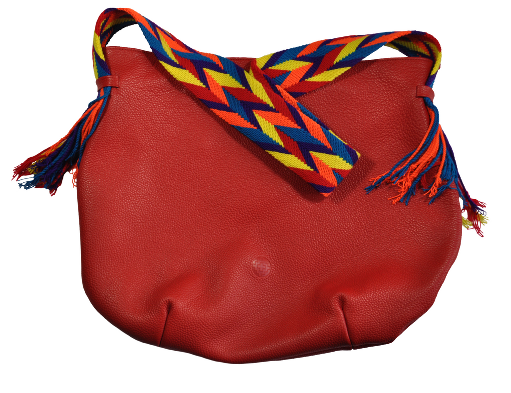red  leather hobo bag with Wayuu colorful handwoven strap