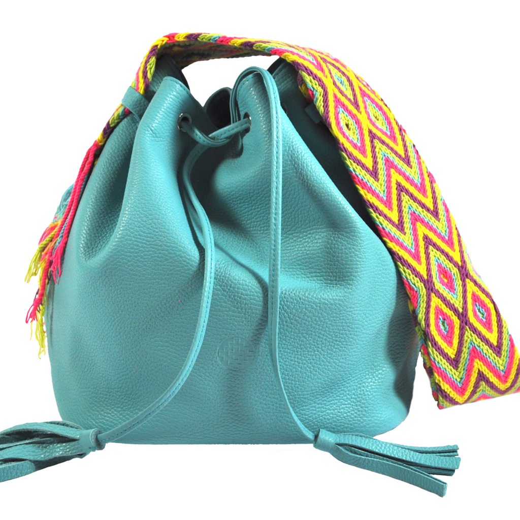 wayuu bag leather bag mochila Wayuu bucket bag light blue luloplanet