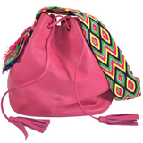 wayuu bag leather bag mochila wayuu fuchsia PINK PITHAYA luloplanet
