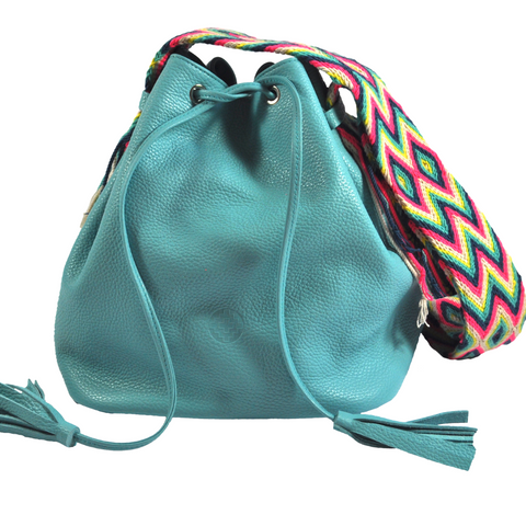wayuu bag leather bag mochila wayuu bucket bag turquoise lily luloplanet