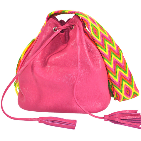 wayuu bag bucket bag leather bag fuchsia PINK PITAHYA