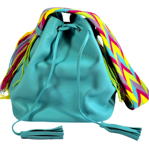 wayuu bucket bag leather bag mochila wayuu turquoise blue luloplanet