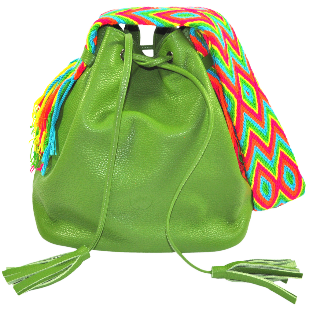 wayuu bag boho style leather mochila AVOCADO GREEN luloplanet