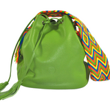 wayuu bag boho style leather mochila AVOCADO GREEN