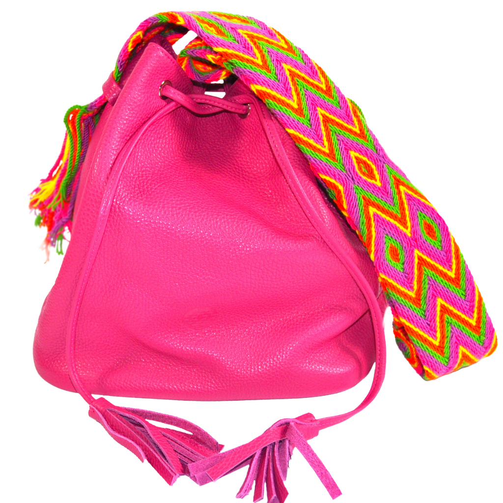 leather wayuu bag mochila bucket bag fuchsia boho style luloplanetPINK PITAHYA