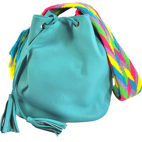 turquoise blue mochila wayuu leather bag bucket bag luloplanet