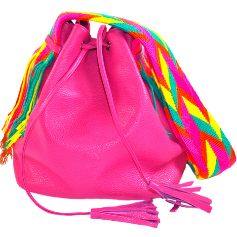pink mochila wayuu bucket bag leather bag luloplanet PINK PITAHYA