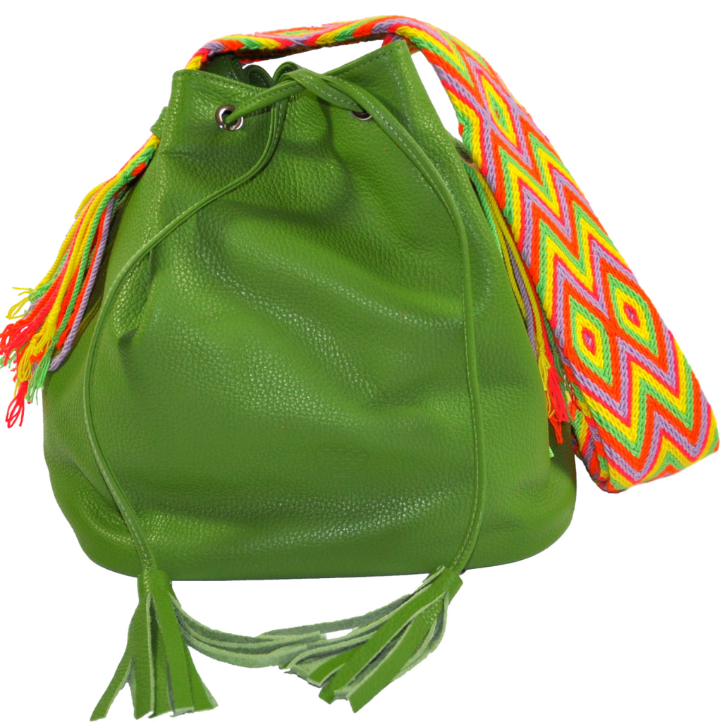 wayuu bag leather mochila boho style AVOCADO GREEN luloplanet