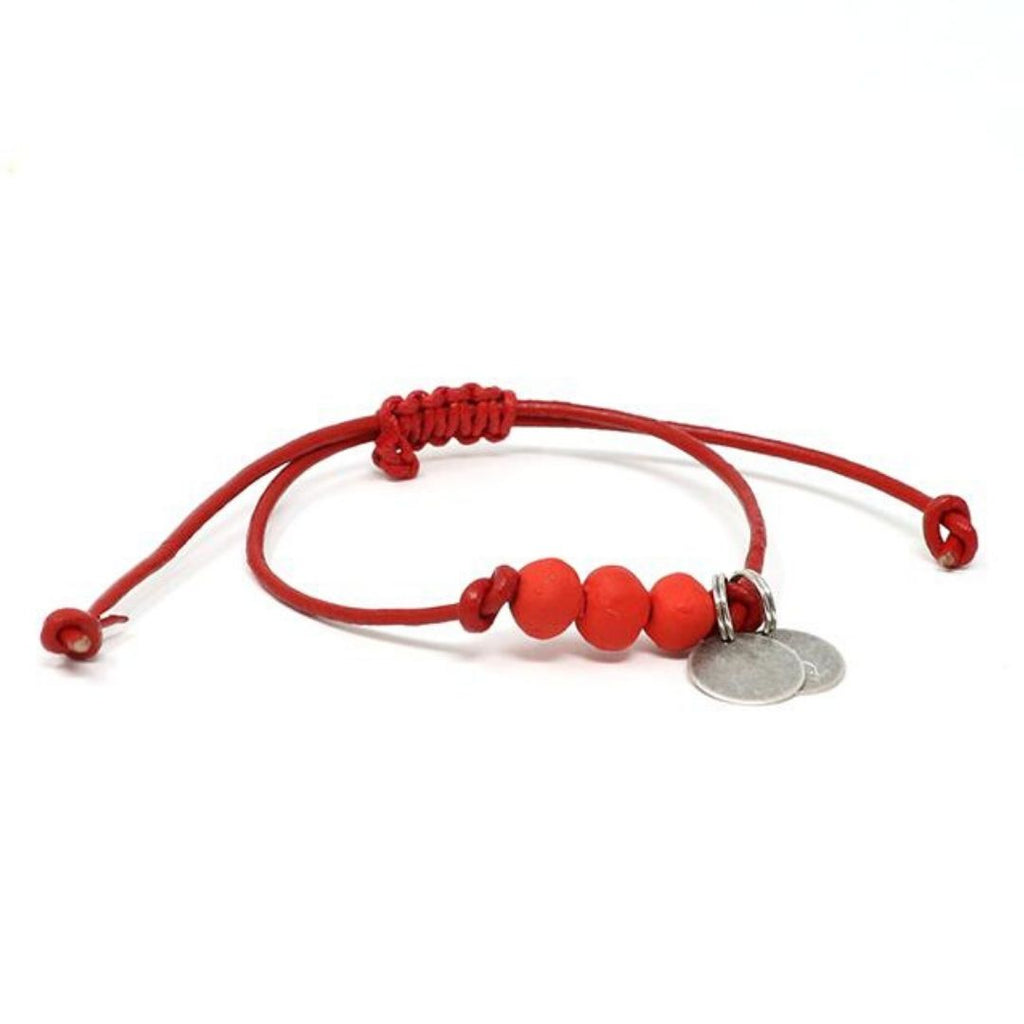 vegan leather matte clay red bracelet
