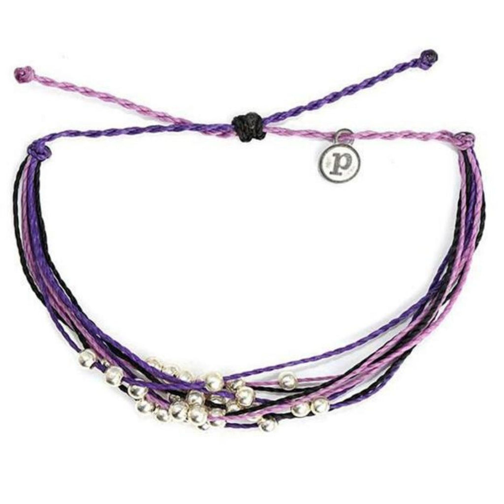 waterproof waxed string bracelet with silver charms