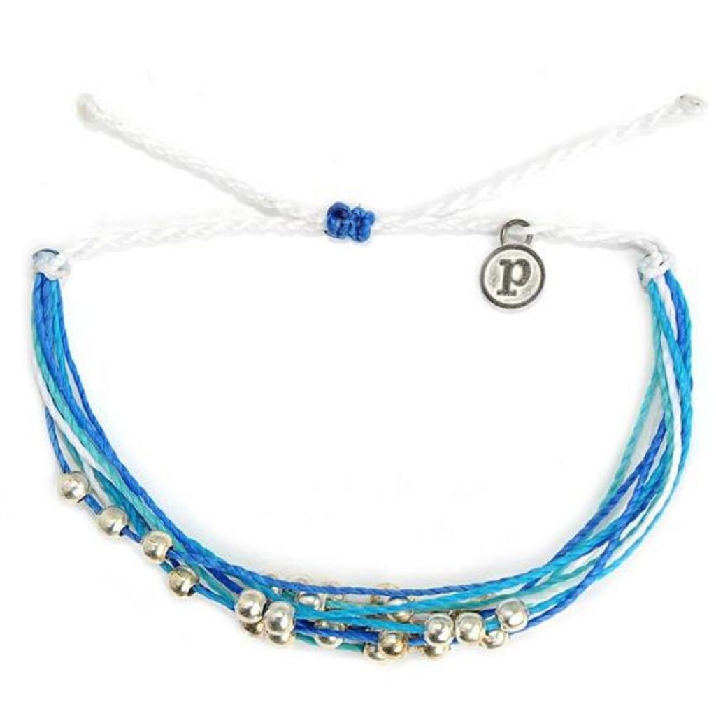 blue waterproof waxed string bracelet with charms from Costa Rica