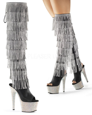 "7"" Rhinestone Fringe Thigh High Boot-Pleaser-Exotic Angels Boutique"