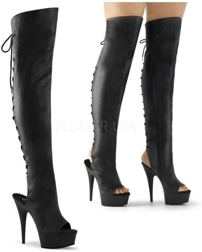 6 Inch Spike Heel Platform Open Toe Thigh Boot-Pleaser-Exotic Angels Boutique