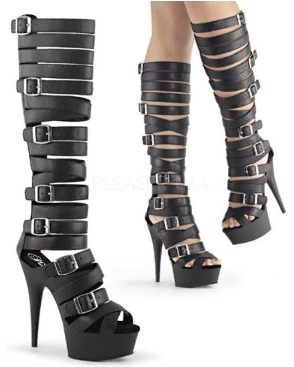 6'' Heel 1 3/4'' Platform Gladiator Sandal Knee Boot-Pleaser-Exotic Angels Boutique