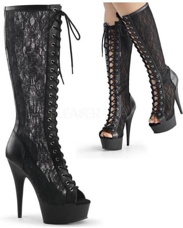 "6"" Heel Open Toe Lace Knee High Boot-Pleaser-Exotic Angels Boutique"