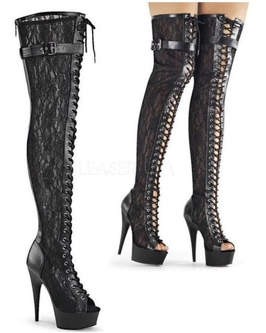 "6"" Heel Open Toe Lace Thigh High Boot-Pleaser-Exotic Angels Boutique"