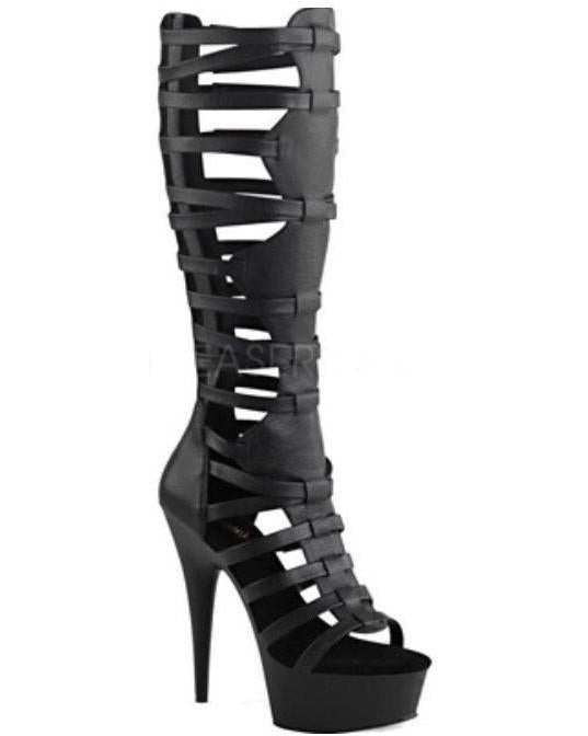 "6"" Open Toe Gladiator Knee High Boot-Pleaser-Exotic Angels Boutique"