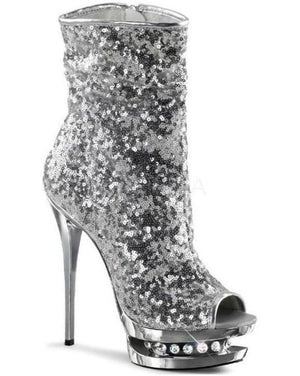 "6"" Sequined Open Toe Ankle Boot-Pleaser-Exotic Angels Boutique"