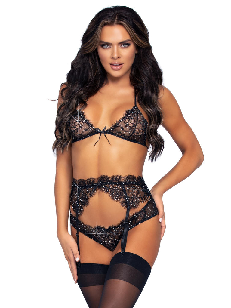 Black Rhinestone Lace Set-Stripperfitz-Exotic Angels Boutique