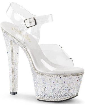 "7"" Clear Platform Strap Sandal with Rhinestones - Exotic Angels Boutique"