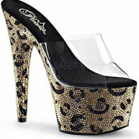 "7"" Platform Sandal with Leopard Pattern Rhinestones-Pleaser-Exotic Angels Boutique"