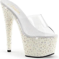 "7"" Platform Slide With Pearls And Rhinestones-Pleaser-Exotic Angels Boutique"