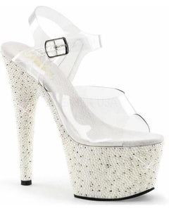 "7"" Platform Strap Sandal With Pearls And Rhinestones-Pleaser-Exotic Angels Boutique"