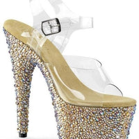 "7"" Strap Sandal With Multi Sized Rhinestones-Pleaser-Exotic Angels Boutique"