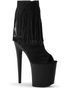 "8"" Heel Open Toe/Back Fringed Ankle Boot-Pleaser-Exotic Angels Boutique"