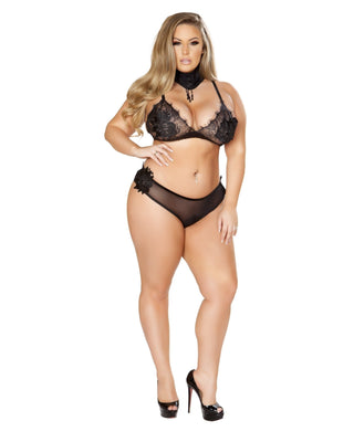 Plus Size Eyelash And Applique Bra Set-Roma Costume-Exotic Angels Boutique