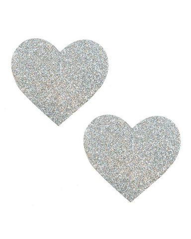 Silver Pixie Dust Glitter Heart Pasties-Pastease-Exotic Angels Boutique