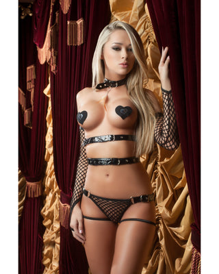 Strappy Fishnet Three Piece Set-G World-Exotic Angels Boutique