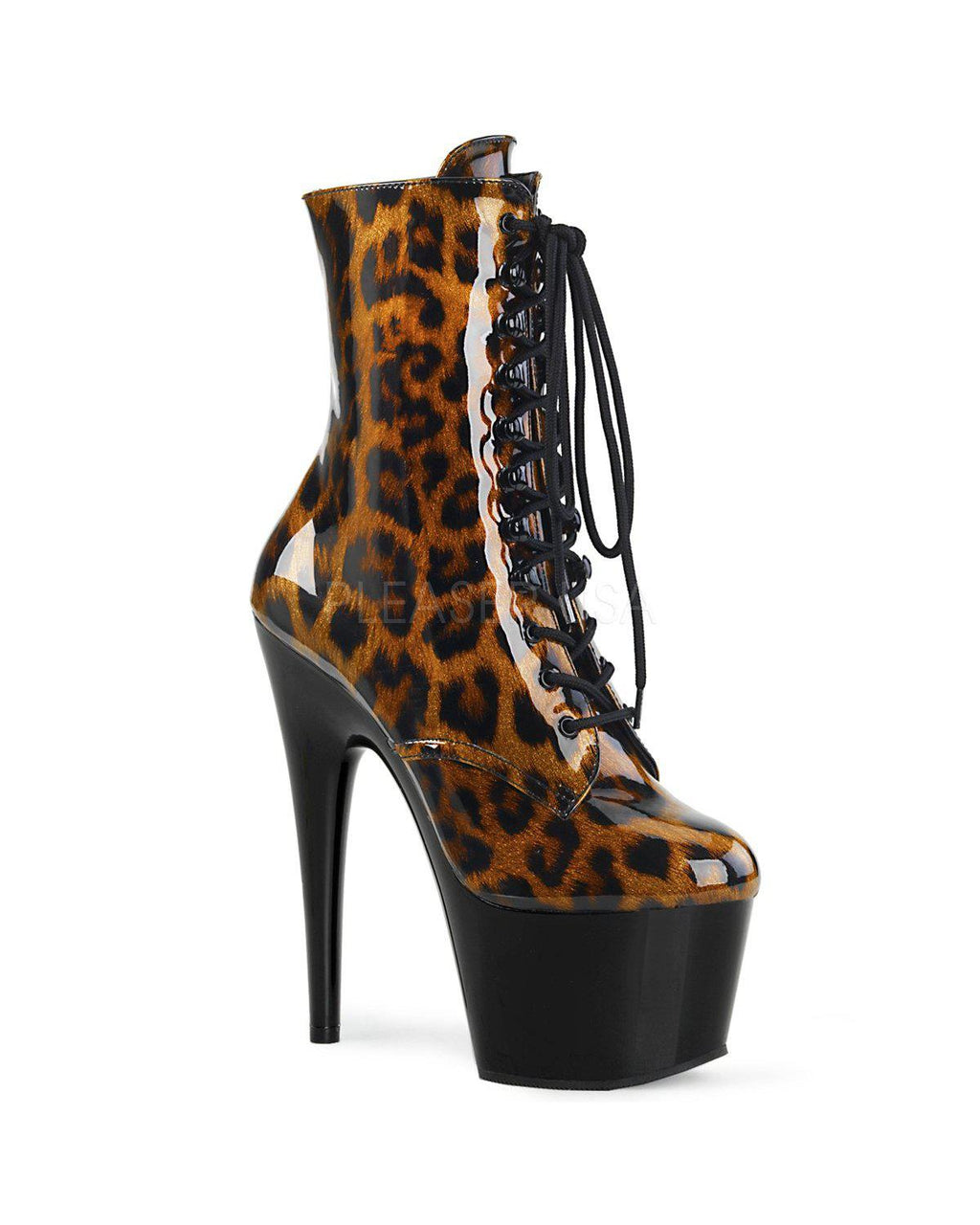 "7"" Lace Up Leopard Print Ankle Boot-Pleaser-Exotic Angels Boutique"