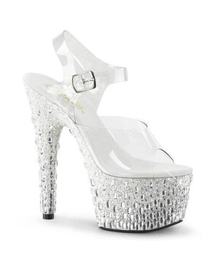"7"" Platform Glitter and Rhinestone Strap Sandals - Exotic Angels Boutique"