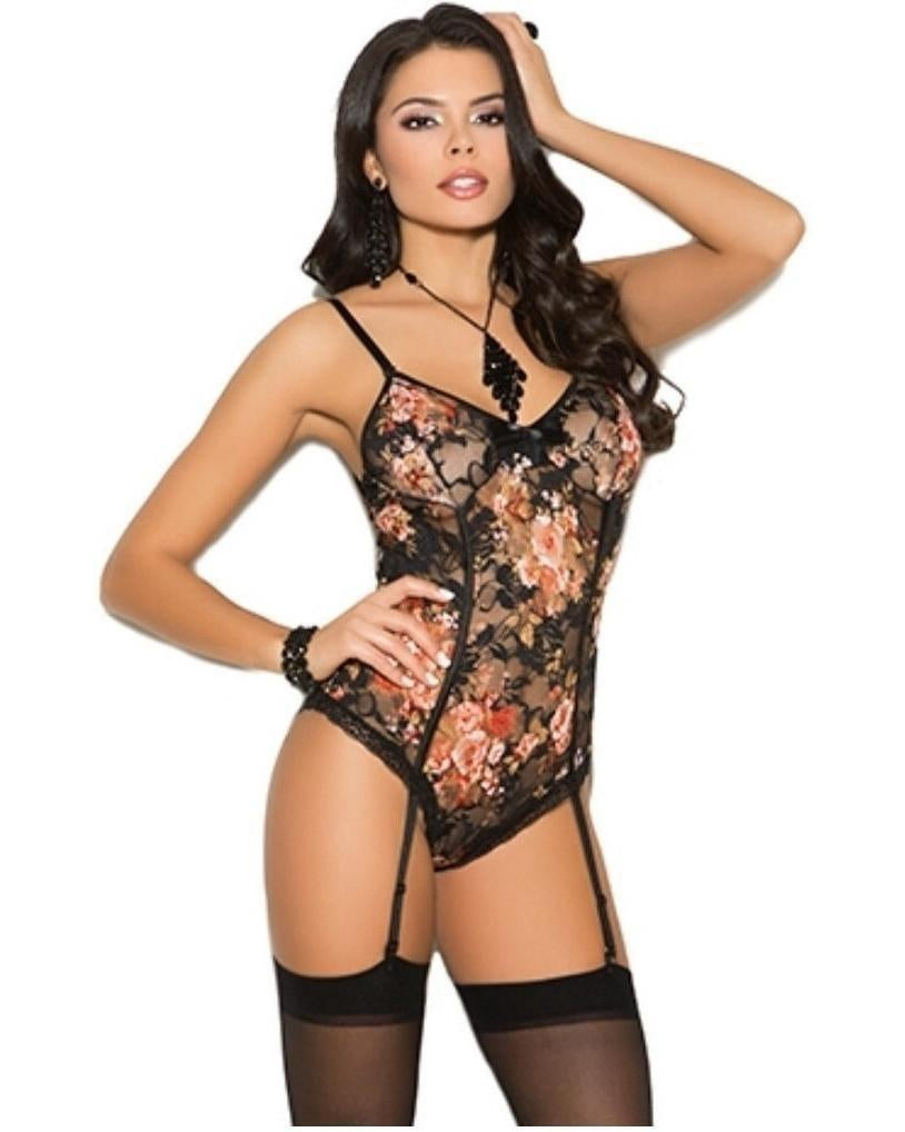 Floral Lace Teddy-Elegant Moments-Exotic Angels Boutique