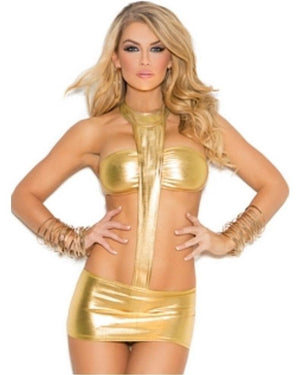 Gold Metallic Minidress-Elegant Moments-Exotic Angels Boutique