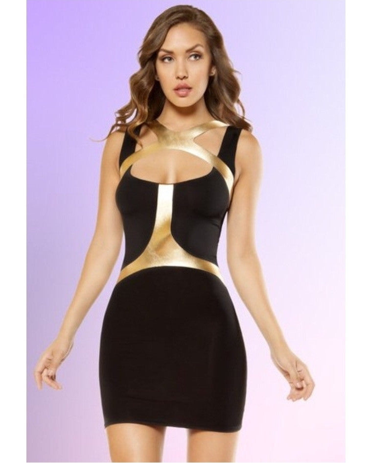 Gold Strapped Mini Dress-Roma Costume-Exotic Angels Boutique
