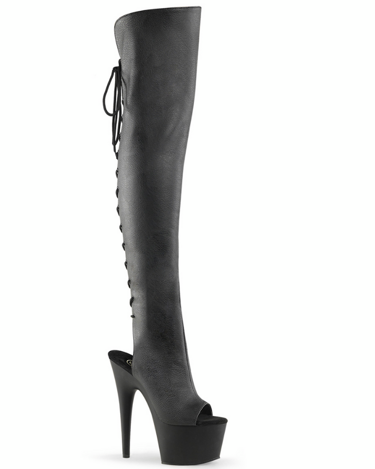 "7"" Platform Open Toe Thigh High Boot-Pleaser-Exotic Angels Boutique"