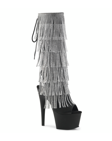 "7"" Platform Fringe Rhinestone Knee Boot-Pleaser-Exotic Angels Boutique"