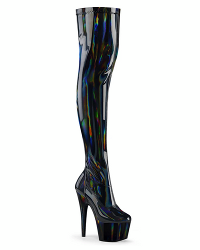 "7"" Platform Stretch Thigh High Boot-Pleaser-Exotic Angels Boutique"
