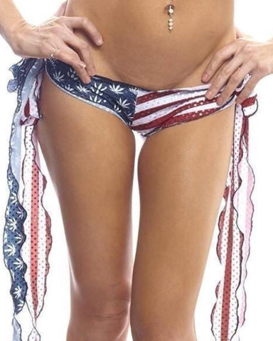 American Pot Print Ribbon Tie Shorts-BodyZone-Exotic Angels Boutique